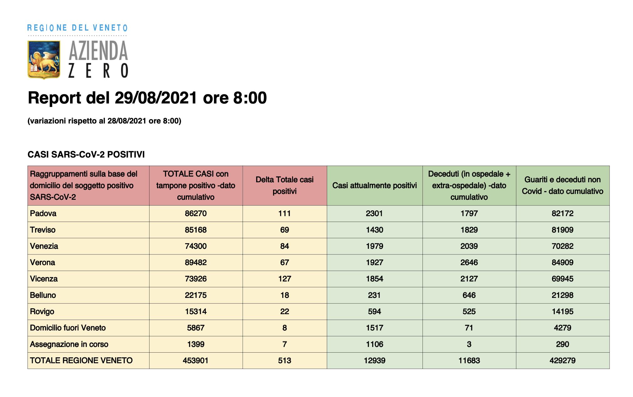 Report Regione Veneto 29 agosto 2021 ore 8