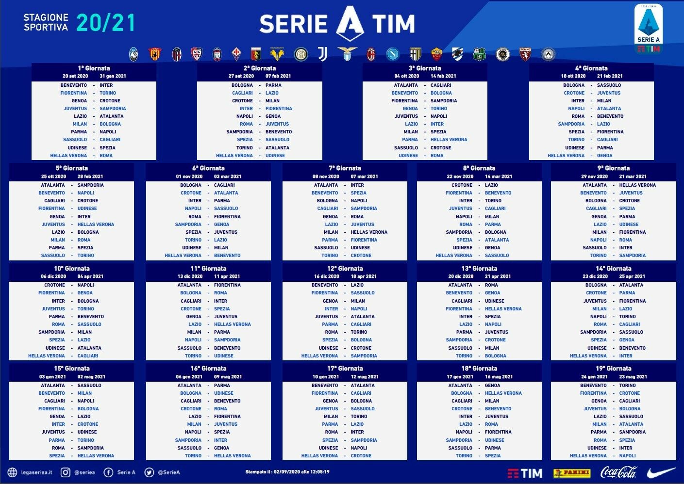 Calcio, il calendario di Serie A 2020/2021 | Hellas Verona