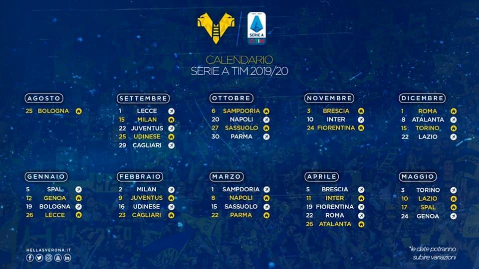 Calendario Seirie A.Calendario Serie A Hellas Verona