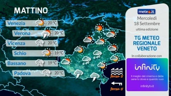 Le previsioni meteo per mercoledì 18 settembre 2019