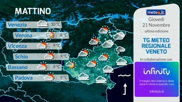 Le previsioni meteo per giovedì 21 novembre 2019