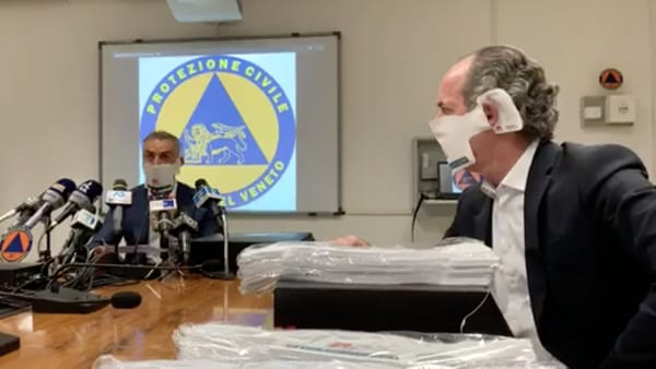 Emergenza coronavirus, Zaia: «Da Grafica Veneta in dono 2 milioni di mascherine protettive»