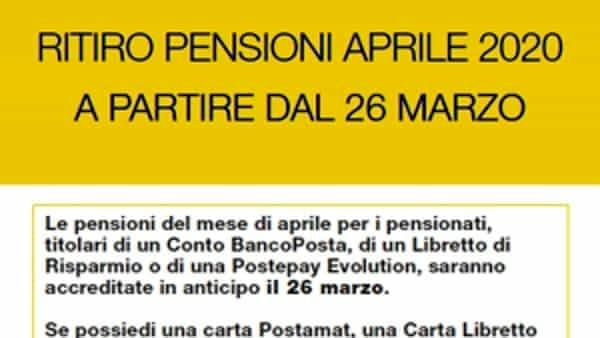 Poste Italiane Le Pensioni Di Aprile In Pagamento Dal 26 Marzo 2020
