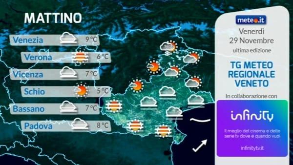 Previsioni del tempo su Verona e il Veneto per venerdì 29 novembre
