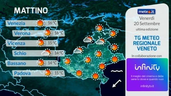 Le previsioni meteo per venerdì 20 settembre 2019