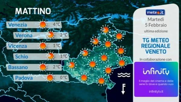 Il meteo di Verona e del Veneto per martedì 5 febbraio