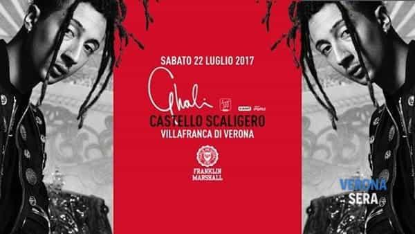 Il rapper Ghali in concerto al Castello Scaligero di Viilafranca