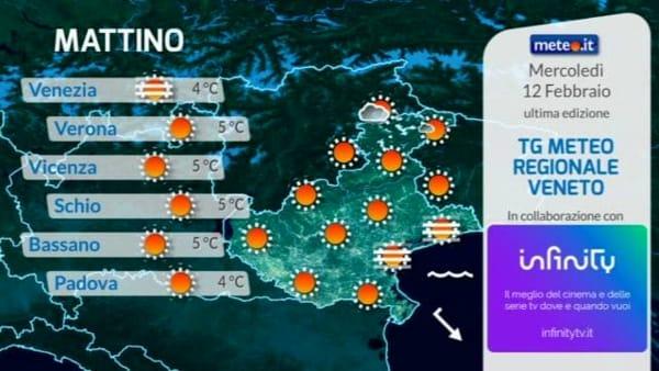Le previsioni meteo per mercoledì 12 febbraio 2020