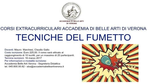 Tecniche del fumetto: corsi extracurricolari dell'Accademia di Belle Arti di Verona