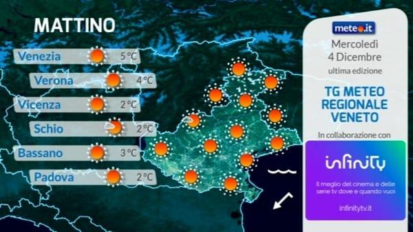 Le previsioni meteo per mercoledì 4 dicembre 2019
