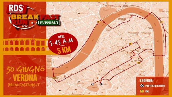 """La corsa """"RDS Breakfast Run Levissima"""" torna a Verona alle prime luci dell'alba"""