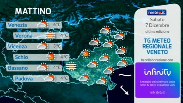Le previsioni meteo a Verona per sabato 7 dicembre 2019