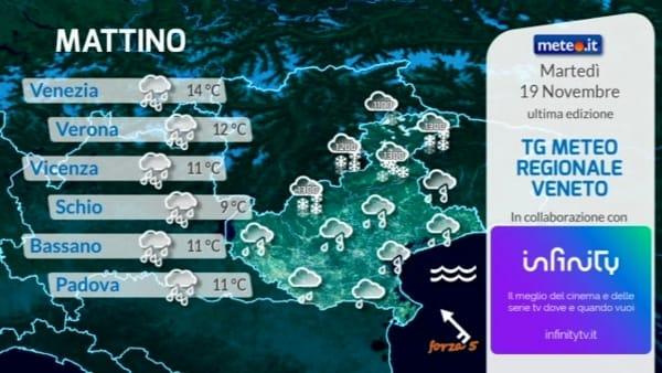 Meteo, previsioni per martedì 19 novembre su Verona e sul Veneto
