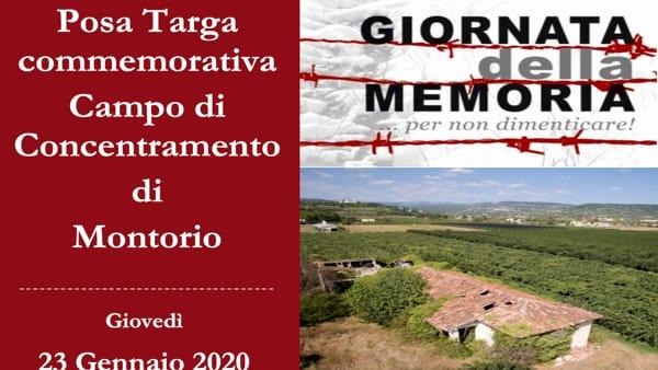 Posa della targa commemorativa nel campo di concentramento di Montorio
