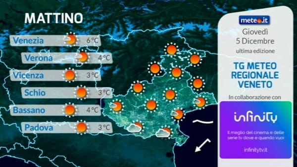 Meteo Veneto e Verona, le previsioni del tempo per giovedì 5 dicembre