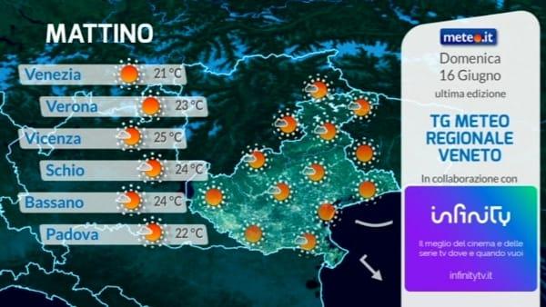 Le previsioni del tempo per domenica 16 giugno a Verona e in Veneto