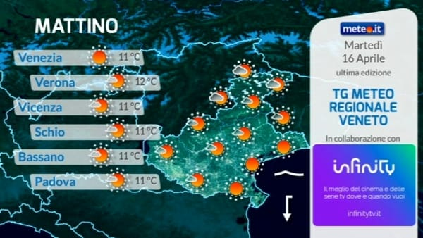 Le previsioni meteo per martedì 16 aprile 2019