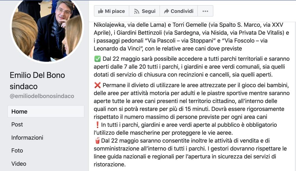 Post Facebook Emilio Del Bono sindaco di Brescia 2