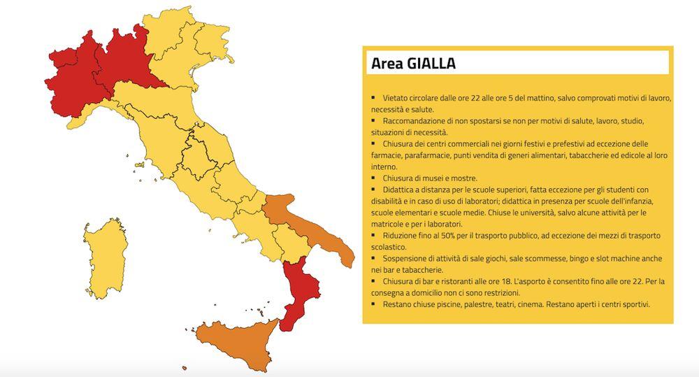 Italia divisa dai colori e regole zona gialla dal 6 novembre 2020