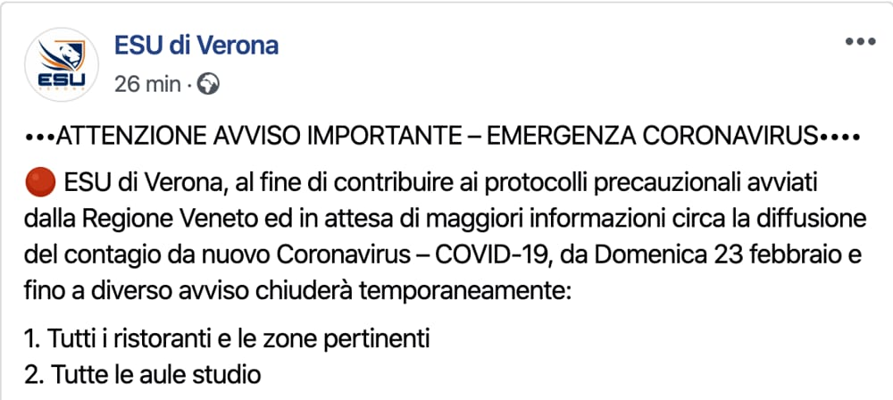 Esu Verona post Facebook
