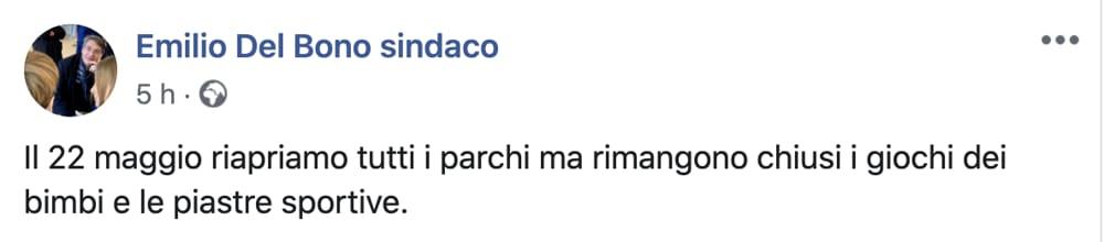 Post Facebook Emilio Del Bono sindaco di Brescia parchi