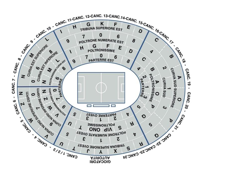 mappa stadio bentegodi verona 2014