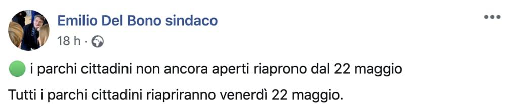 Post Facebook Emilio Del Bono sindaco di Brescia 1