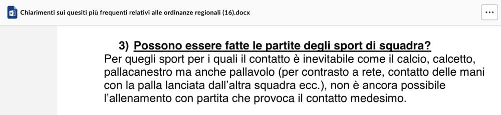 Attività sportive squadra - Regione Veneto chiarimenti