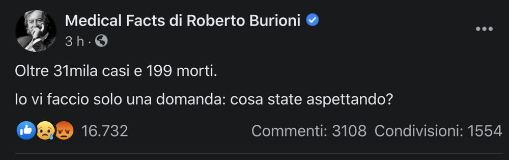 Post Burioni lockdown 30 ottobre 2020