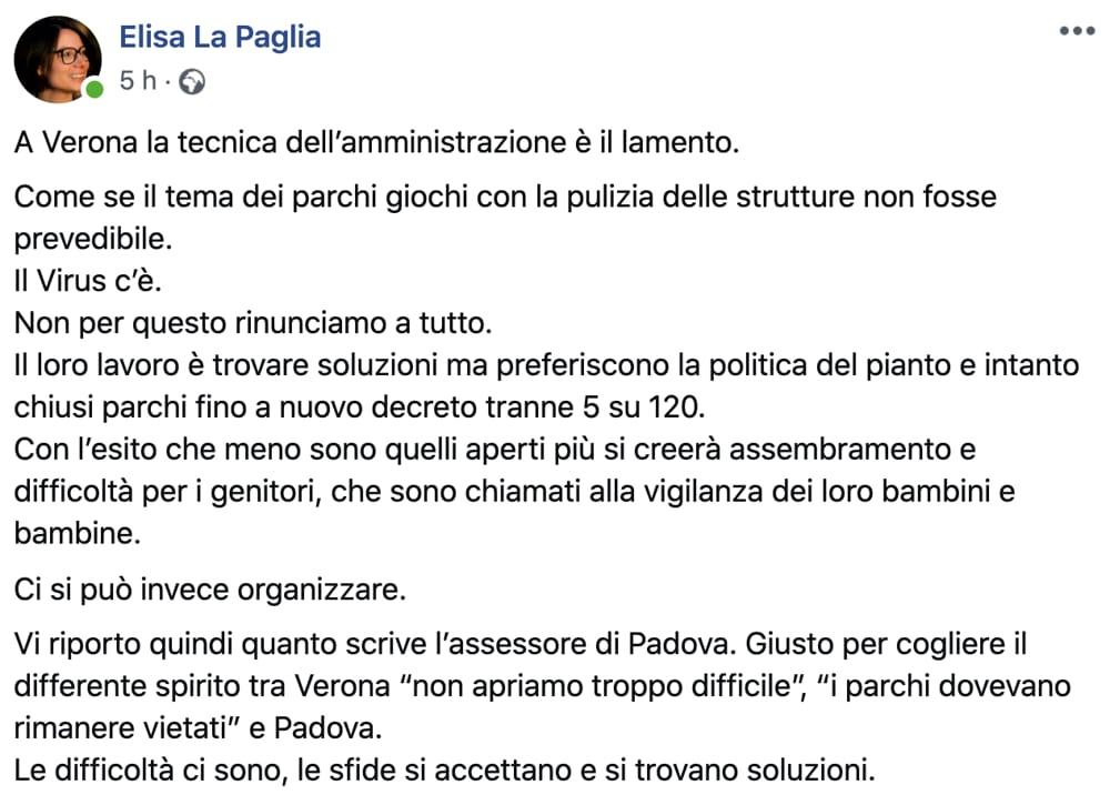 Parchi aree giochi Il post Facebook della consigliera comunale Pd Elisa La Paglia