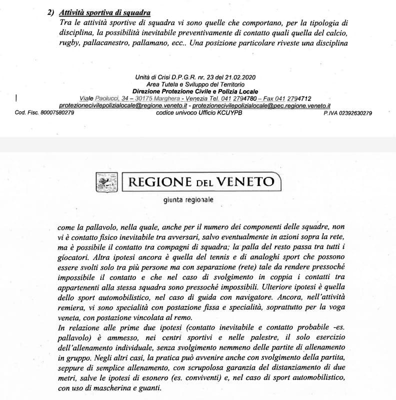 Attività sportive squadra circolare Regione Veneto