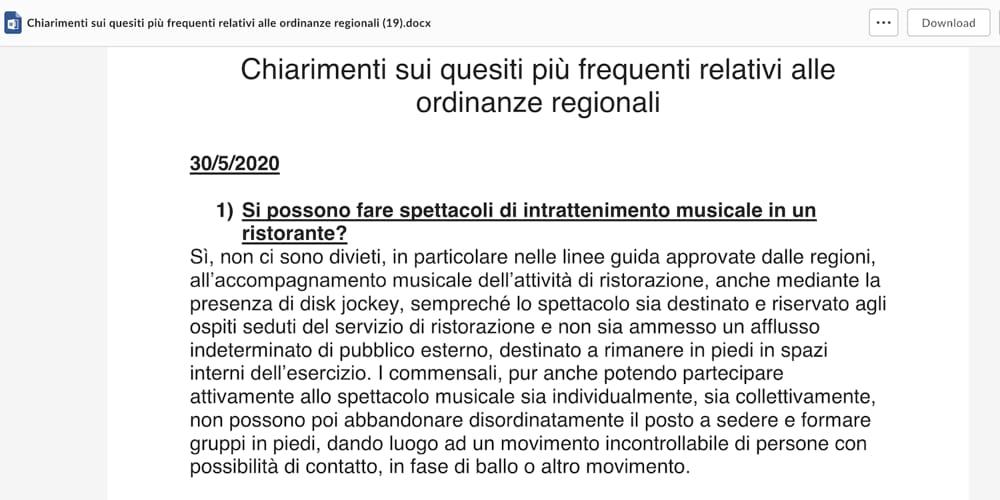 Regione Veneto - Chiarimenti intrattenimento musicale nei ristoranti