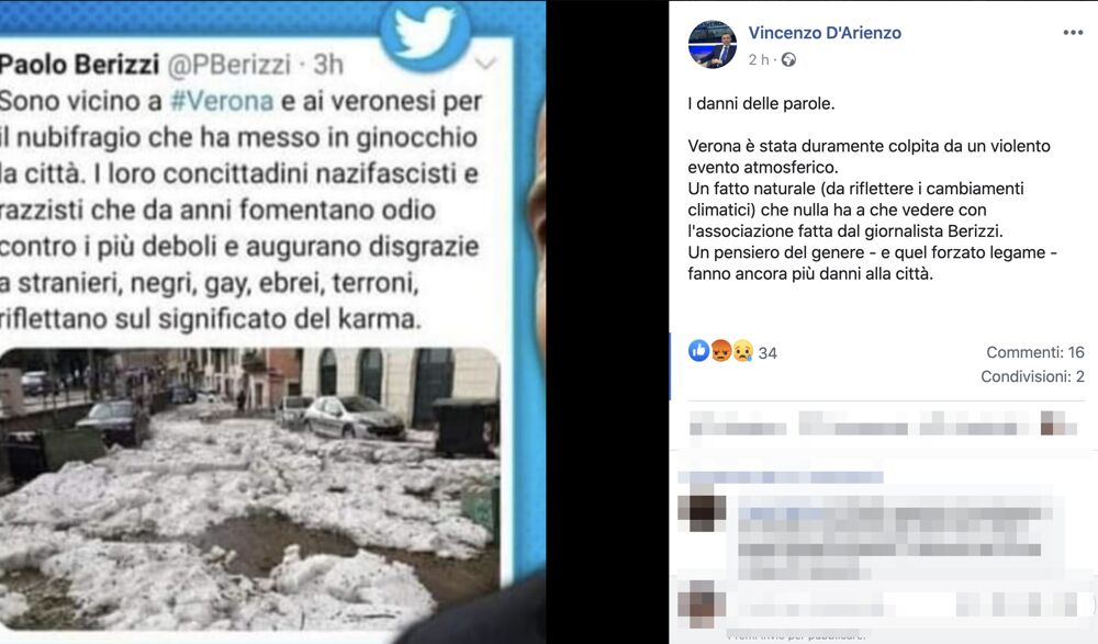 Post Facebook Vincenzo D'Arienzo su Berizzi