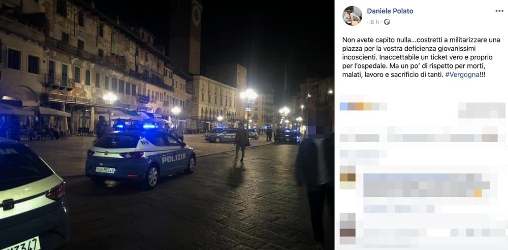 Post facebook assessore daniele polato movida piazza erbe 20 maggio 2020